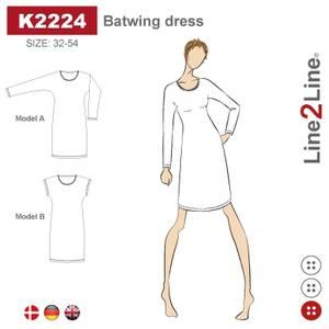 Bilde av Line2Line K2224 Kjole med flaggermusermer
