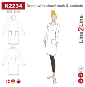 Bilde av Line2Line K2234 Kjole med krave og lommer