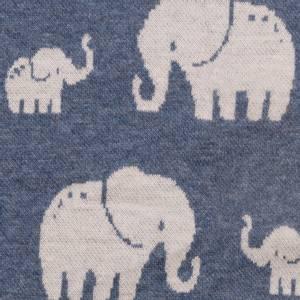 Bilde av Jacquard elefanter blå melert