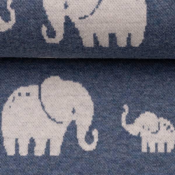 Jacquard elefanter blå melert