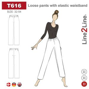 Bilde av Line2Line T616 Løs bukse med elastisk linning