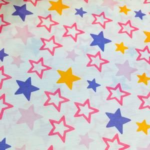 Bilde av Strikket Ull, tynn - hvit med stjerner i rosa, lilla og gul