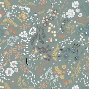 Bilde av Bomullspoplin - Blomstermix, støvet grønn