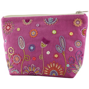 Bilde av Broderikit Blomster pouch rosa