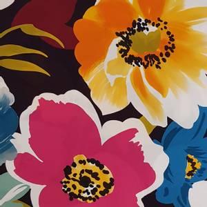 Bilde av Viscose store blomster svart bakgrunn