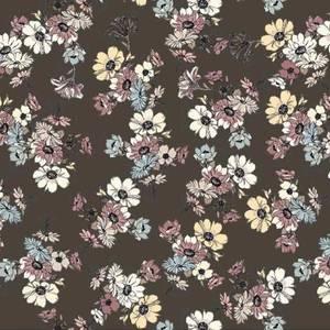 Bilde av Crepe Viscose brun med små blomster