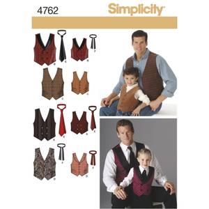 Bilde av Simplicity 4762 Vest og slips til mann og gutt