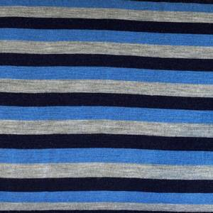 Bilde av Strikket Ull, tynn - melert grå, blå og marineblå striper