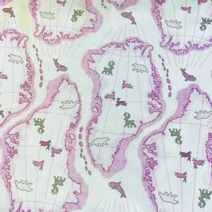 Bilde av Strikket Ull, tynn dobbelstrikket - hvit med rosa arktis og dyr