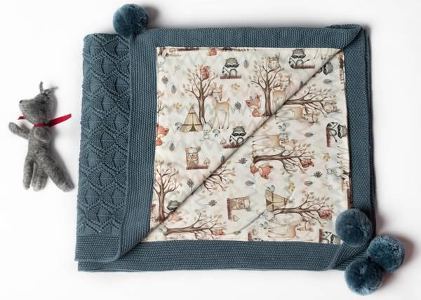 Bilde av Pledd Bond i merinoull med bomullsfôr, gråblå, skogsvenner