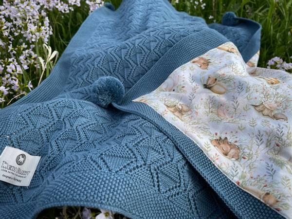 Bilde av Pledd Bond i merinoull med bomullsfôr, gråblå, eng