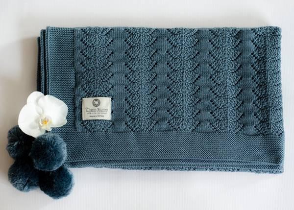 Bilde av Stort pledd Coolalee i merinoull, gråblå, skjellmønster