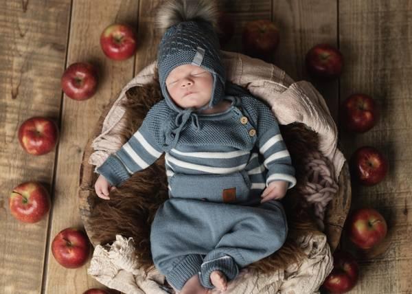 Bilde av Gråblå ullsett med genser Letelle og baggybukse Chias