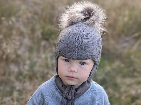 Bilde av Lue Norfolk i merinoull med bomullsfôr, pelsdusk, brun