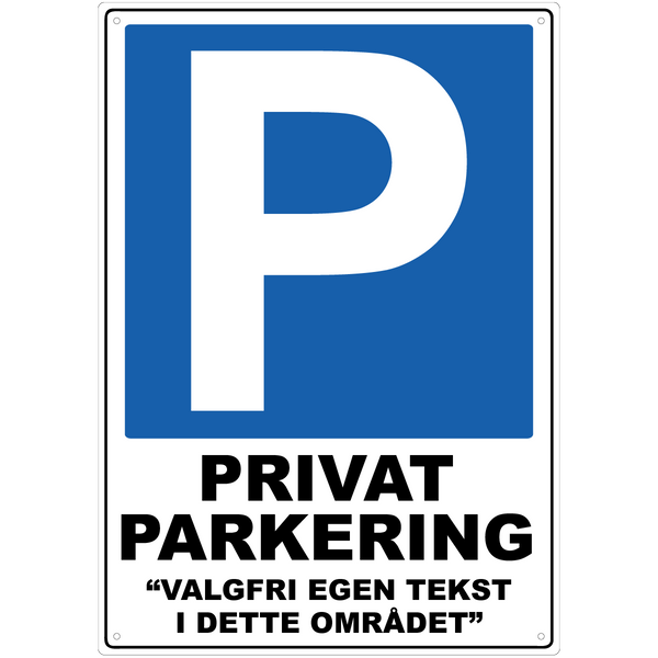 Bilde av Privat Parkering Ren med Egen Tekst A3