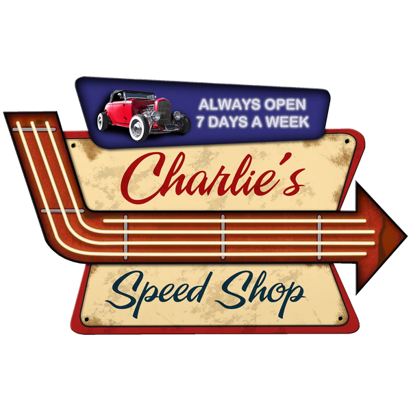 Bilde av Speed Shop Arrow Skilt - Personlig