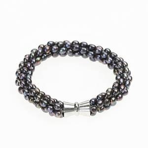 Bilde av Perlearmbånd med magnetlås, sort perlemor