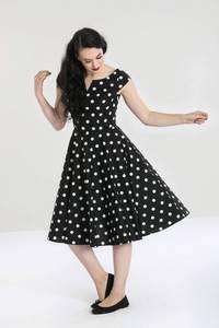 Bilde av Hell Bunny Utsvingt kjole Nicky, Sort med prikker