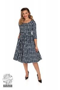 Bilde av H&R Utsvingt kjole Piper, Blå med hjerter
