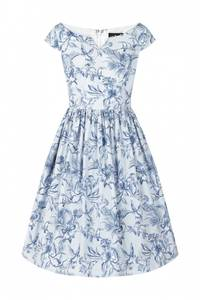 Bilde av Hell Bunny utsvingt kjole Brasilia, lysblå m/blått mønster