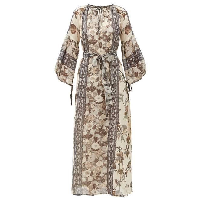 Bilde av Vista Maxi Embroidered Dress Grey - D'Ascoli