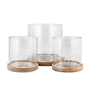Image of Lantern clear w/wood plate