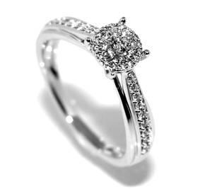 Bilde av Diamantring i hvitt gull med diamanter 0.25ct w.si