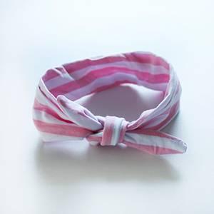 Bilde av Hårbånd med knute Hvit/Lyserosa Stripete