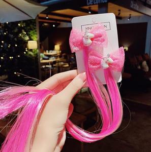 Bilde av Hårspenne 2 pack rosa enhjørning med rosa sløyfe