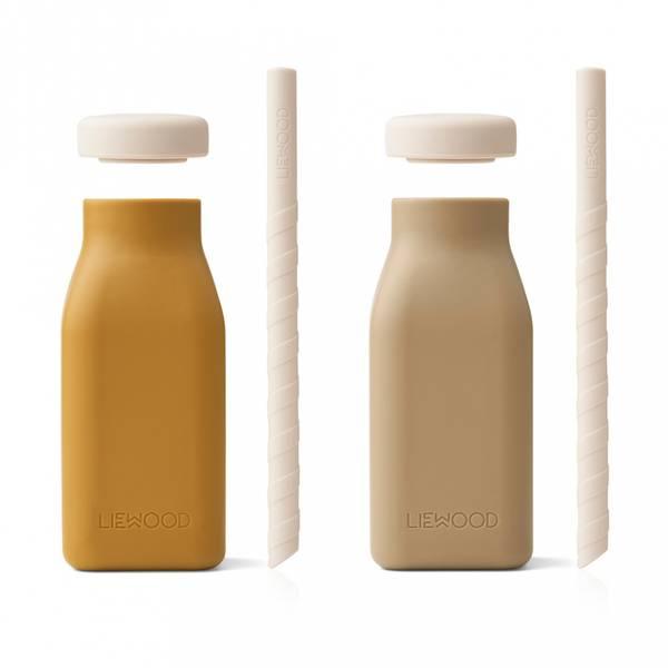 Drikkeflaske Til Milkshake - Liewood Erika Silikon (Golden Caramel Oat Mix)