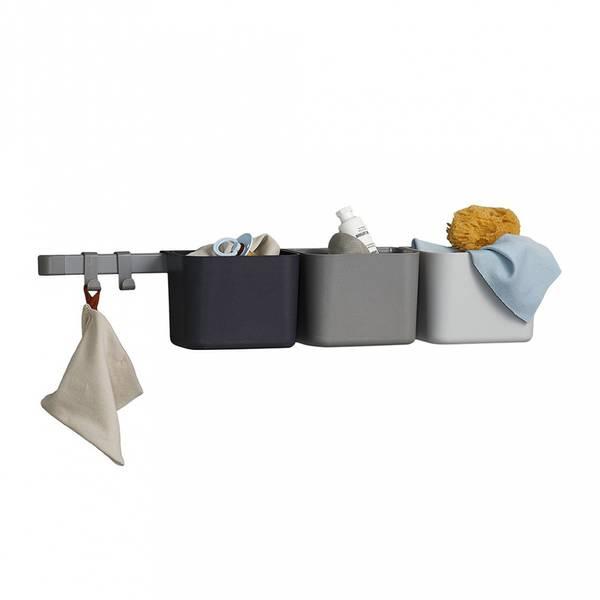 Oppbevaringsholdere 3-Stk - Leander Inkl. 1 Stk Lang Skinne (Dusty Grey)