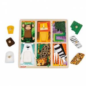 Bilde av Puslespill I Tre - Janod Tactile Puzzle Zoo