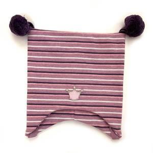 Bilde av Kivat knytelue med krone - rosa stripete med lilla dusker