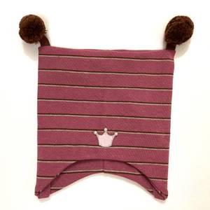 Bilde av Kivat knytelue med krone - rosa og brun stripete med brune duske