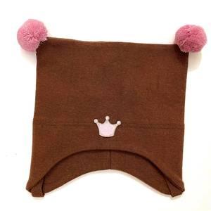 Bilde av Kivat knytelue med krone - brun med rosa dusker