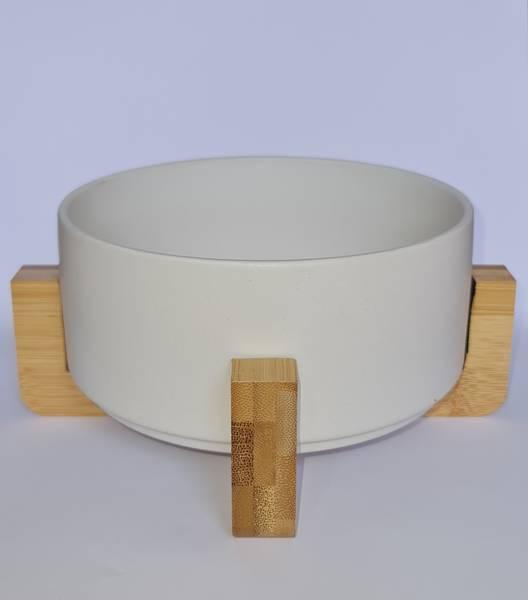 Bilde av Mittdyr hundeskål i keramikk Plain hvit