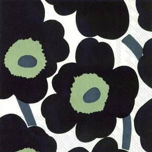 Bilde av Marimekko Unikko Serviett White Black