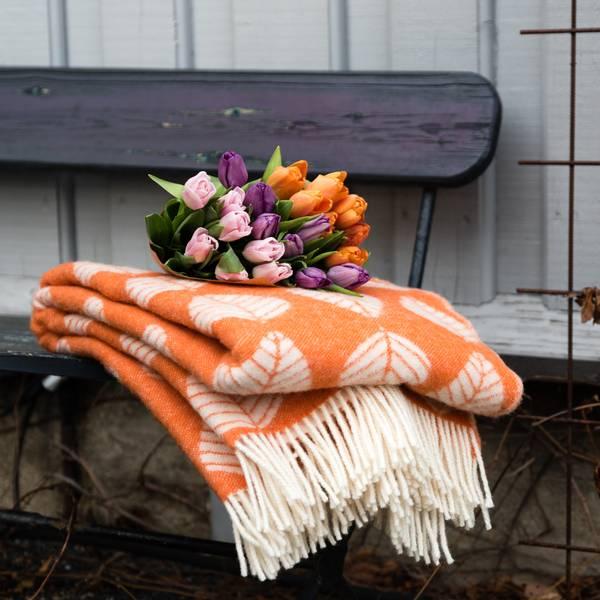 Ullpledd LØV - orange