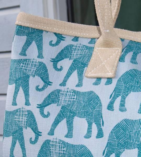 CARRY Elle - Bæreveske/kraftig handlenett med elefanter Blågrønn
