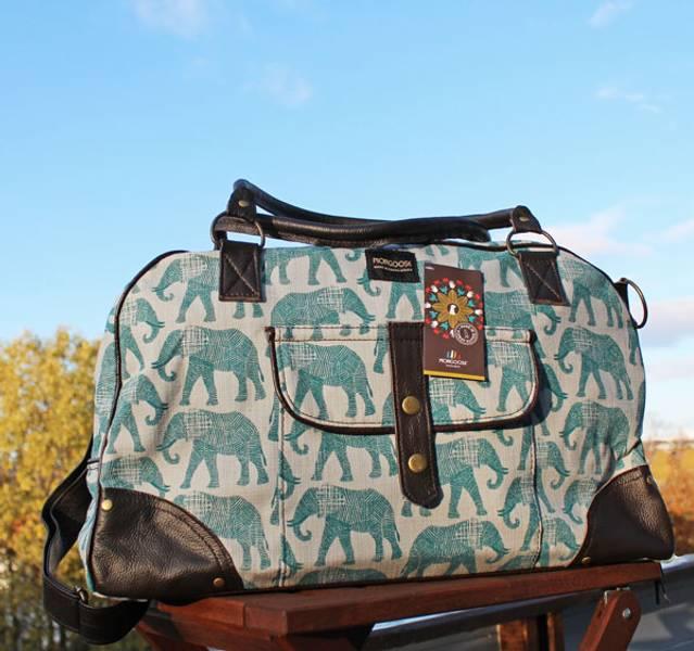Travel bag Elle - Helgebag med elefant dyreprint - Blågrønn
