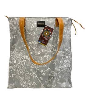 Bilde av Lys grå toteveske med blomsterprint -
