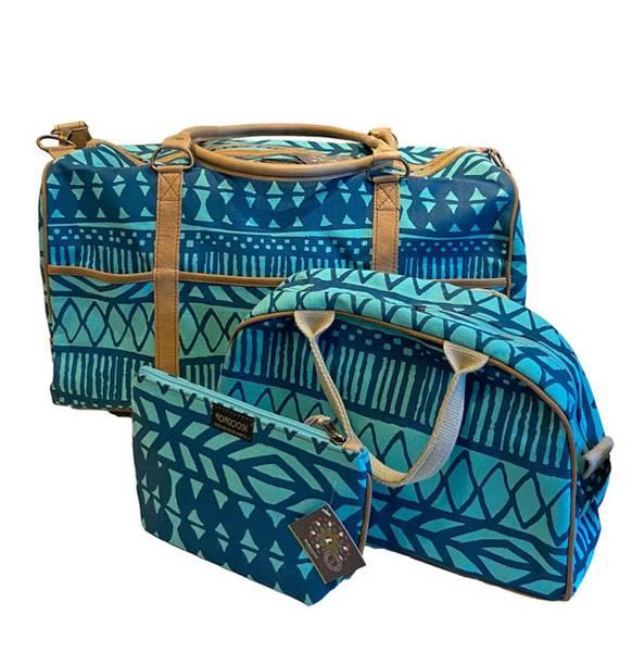 Weekendbag med skinnreim - Batikk turkis helgebag