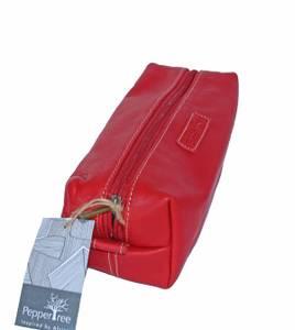 Bilde av Cosmetic bag - Rød toalettmappe i skinn