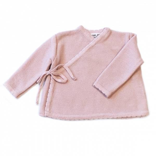 Newborn omslagsjakke i ull lyserosa