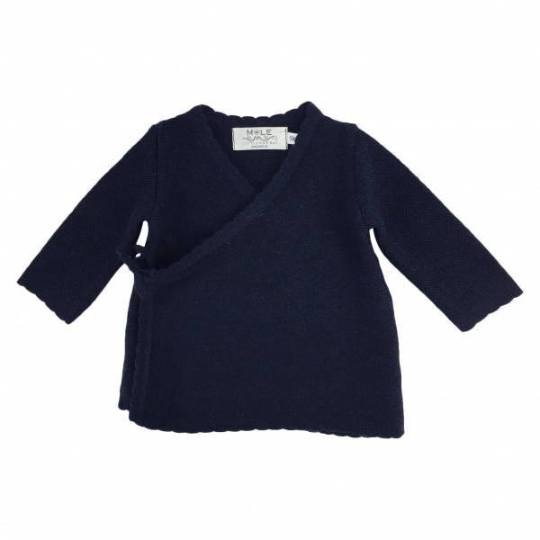 Newborn omslagsjakke i ull marineblå