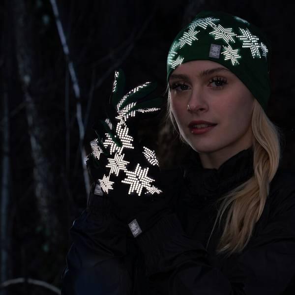 Bilde av Morild Skimre hanske med refleks, furugrønn