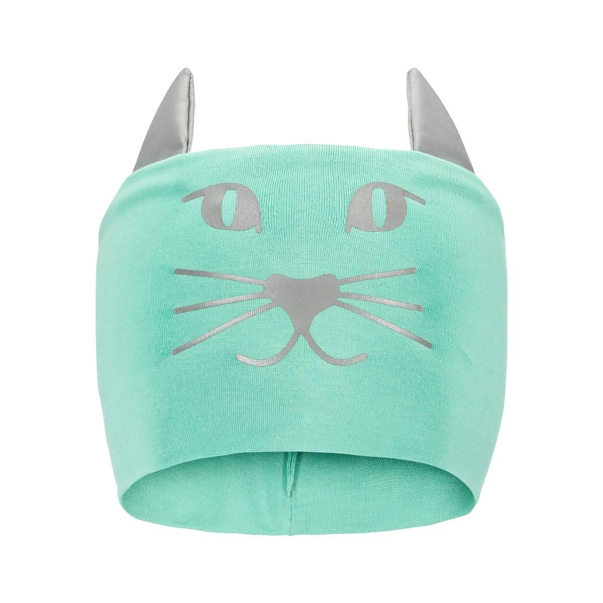 Morild Funkle pannebånd med refleks, puddergrønn kattepus