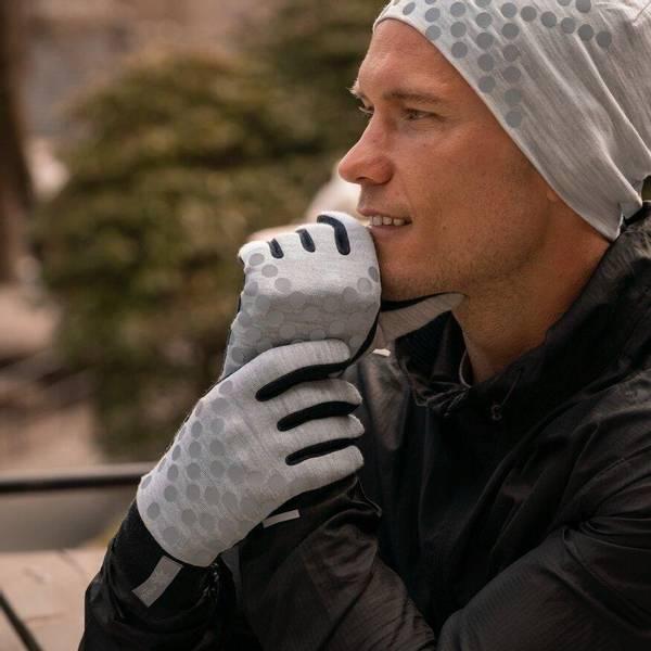 Bilde av Morild Sølvfaks hansker med refleks, lys grå