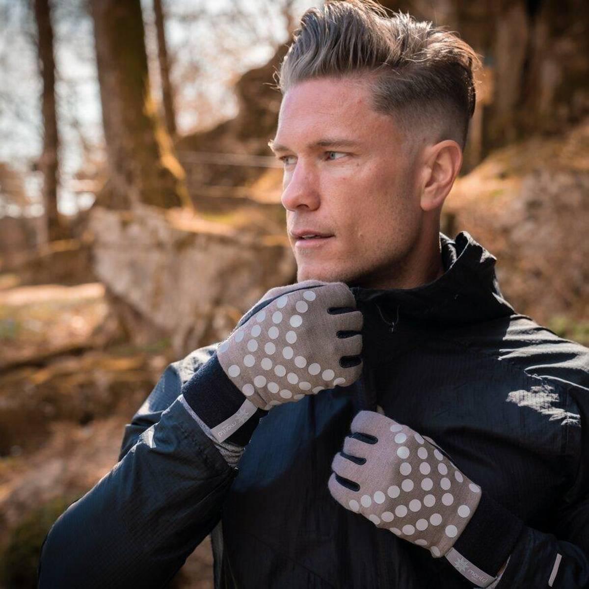 Morild Sølvfaks hansker med refleks, støvbrun
