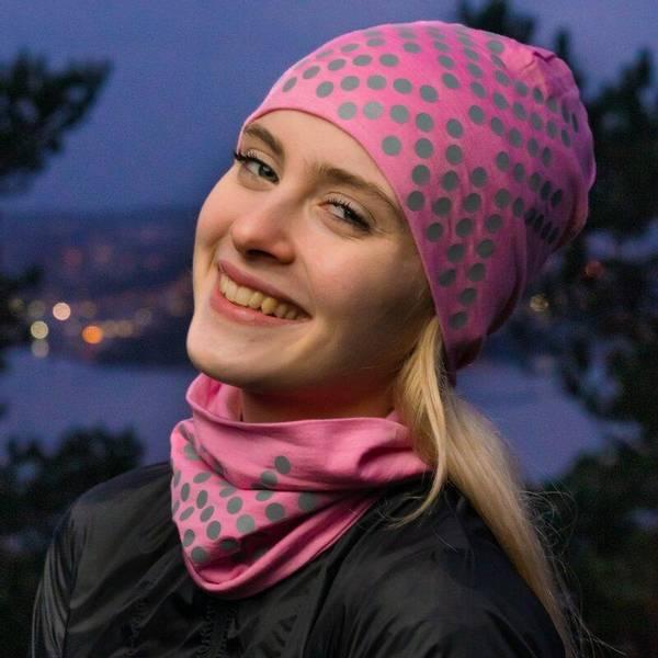 Bilde av Morild Sølvfaks lue med refleks, lys rosa